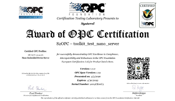 S2OPC server certified by the OPC Foundation